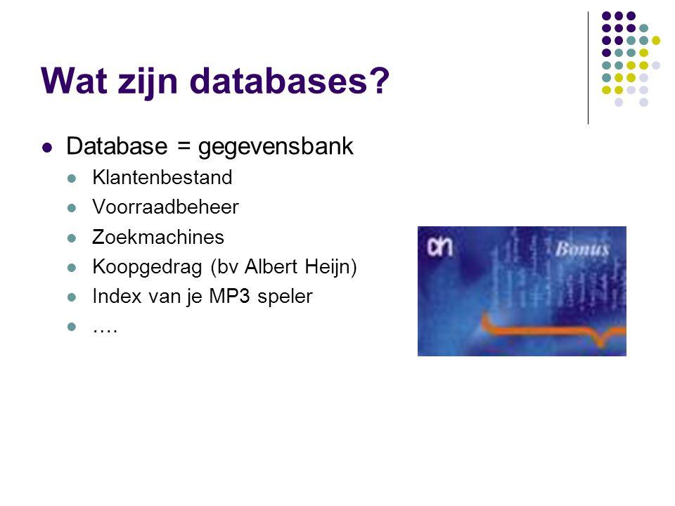 Wat zijn databases? Database = gegevensbank Klantenbestand Voorraadbeheer Zoekmachines Koopgedrag (bv Albert Heijn) Index van je MP3 speler ….