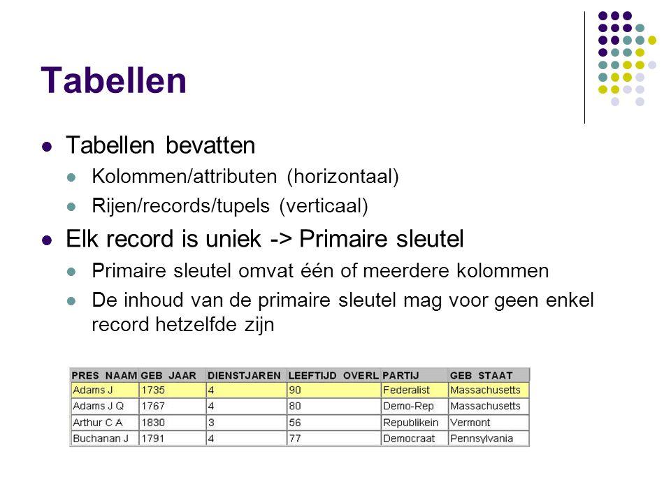 Tabellen Tabellen bevatten Kolommen/attributen (horizontaal) Rijen/records/tupels (verticaal) Elk record is uniek -> Primaire sleutel Primaire sleutel