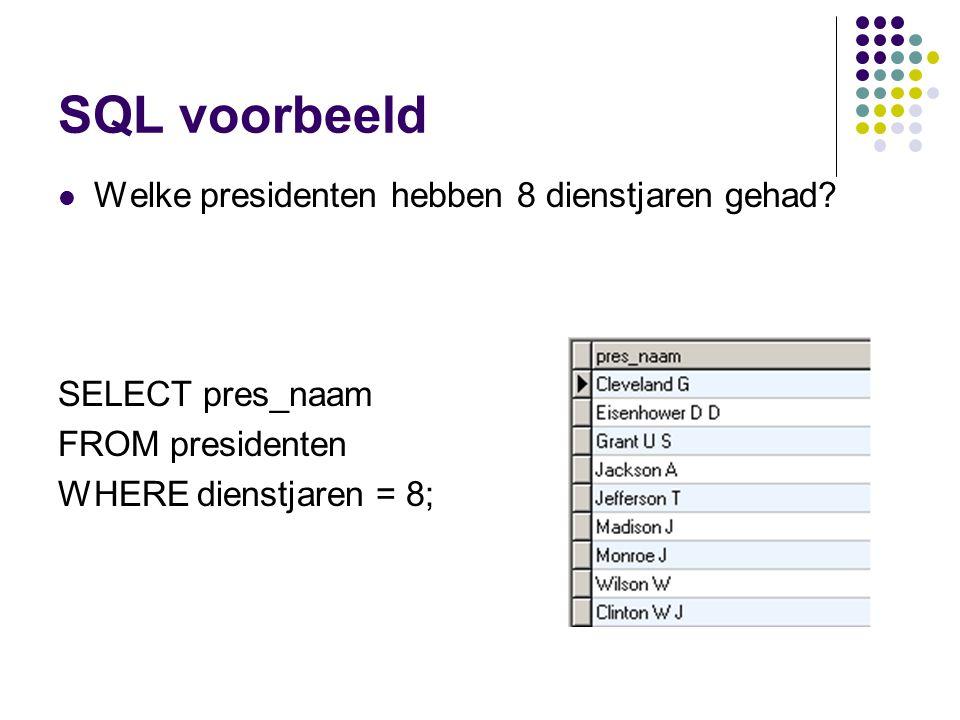 SQL voorbeeld Welke presidenten hebben 8 dienstjaren gehad? SELECT pres_naam FROM presidenten WHERE dienstjaren = 8;