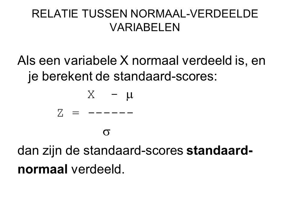RELATIE TUSSEN NORMAAL-VERDEELDE VARIABELEN Als een variabele X normaal verdeeld is, en je berekent de standaard-scores: X -  Z = ------  dan zijn d
