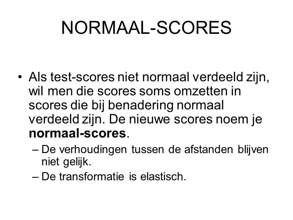 NORMAAL-SCORES Als test-scores niet normaal verdeeld zijn, wil men die scores soms omzetten in scores die bij benadering normaal verdeeld zijn. De nie
