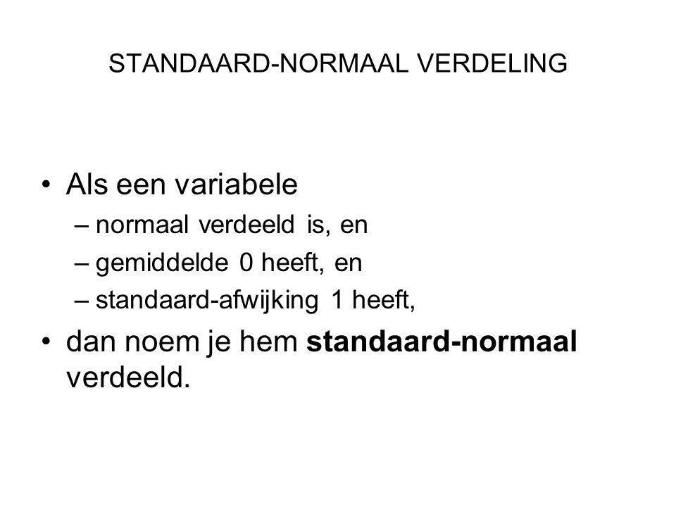 STANDAARD-NORMAAL VERDELING Als een variabele –normaal verdeeld is, en –gemiddelde 0 heeft, en –standaard-afwijking 1 heeft, dan noem je hem standaard