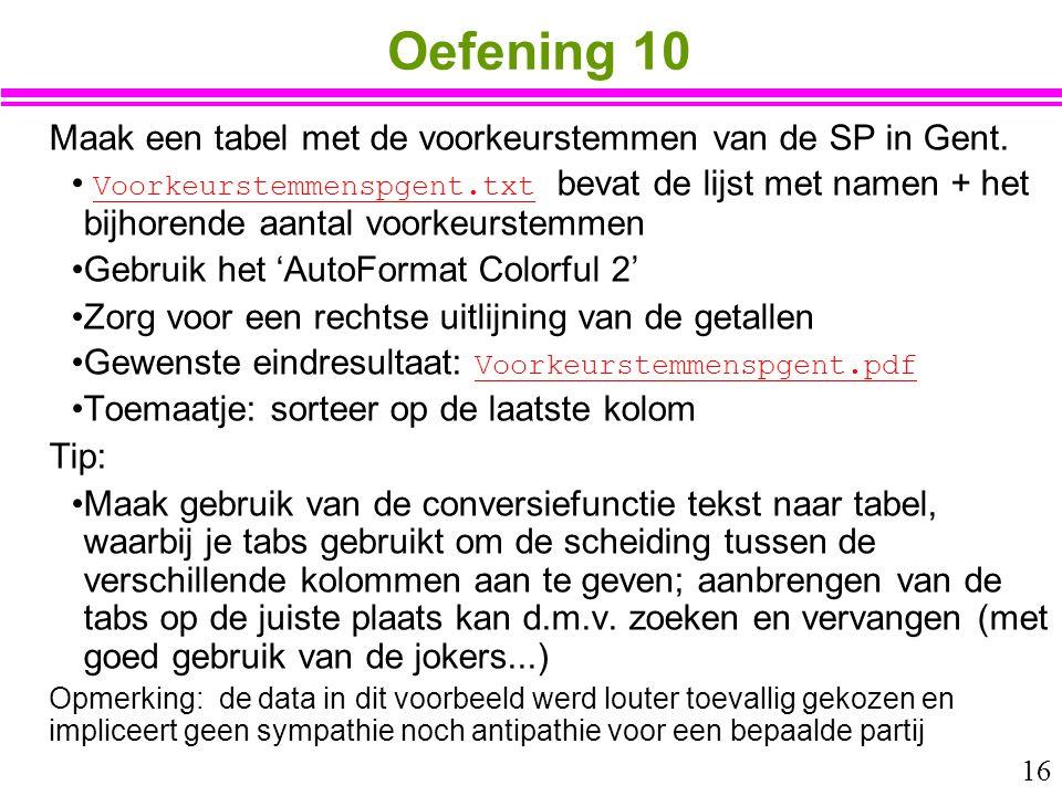16 Oefening 10 Maak een tabel met de voorkeurstemmen van de SP in Gent. Voorkeurstemmenspgent.txt bevat de lijst met namen + het bijhorende aantal voo