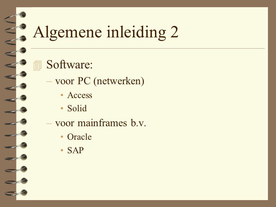 Algemene inleiding 2 4 Software: –voor PC (netwerken) Access Solid –voor mainframes b.v. Oracle SAP