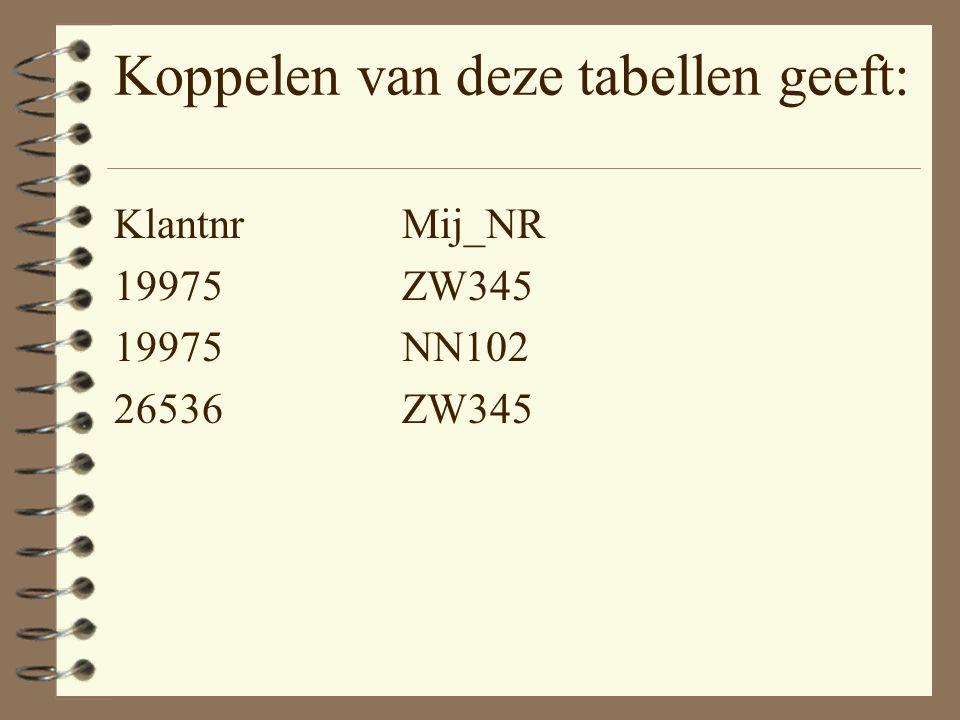 Koppelen van deze tabellen geeft: KlantnrMij_NR 19975ZW345 19975NN102 26536ZW345