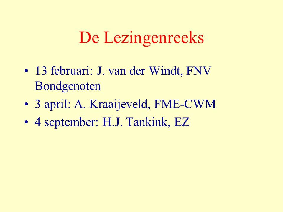 De Lezingenreeks 13 februari: J. van der Windt, FNV Bondgenoten 3 april: A. Kraaijeveld, FME-CWM 4 september: H.J. Tankink, EZ