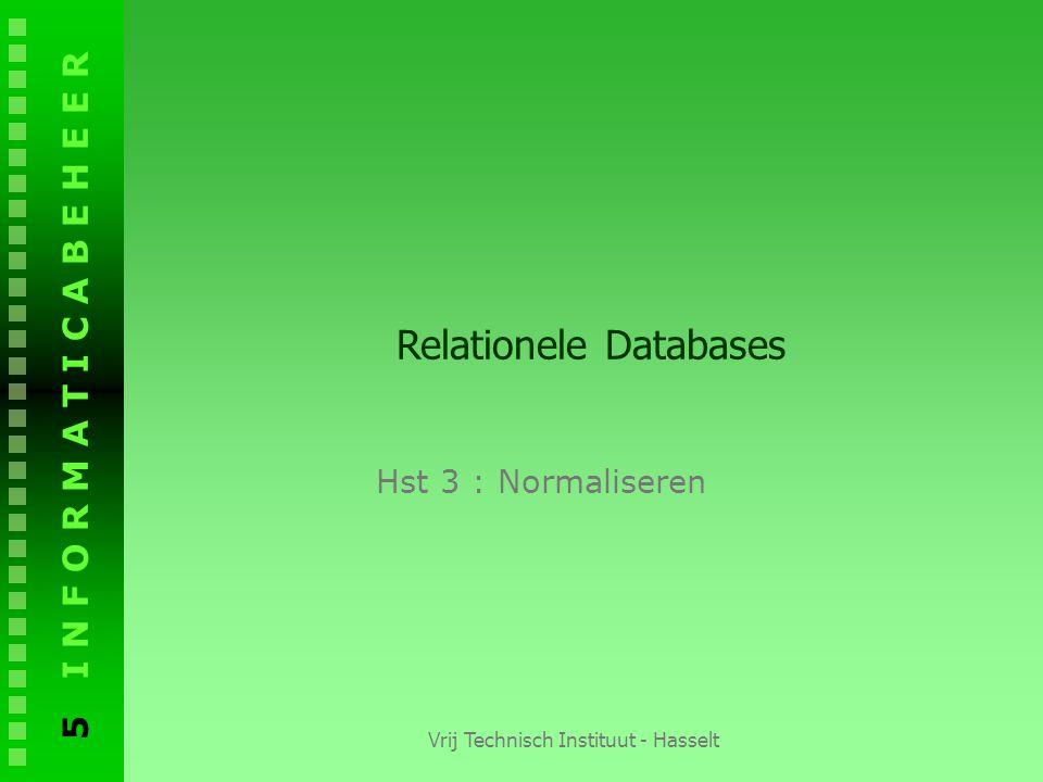 5 I N F O R M A T I C A B E H E E R Vrij Technisch Instituut - Hasselt Relationele Databases Hst 3 : Normaliseren