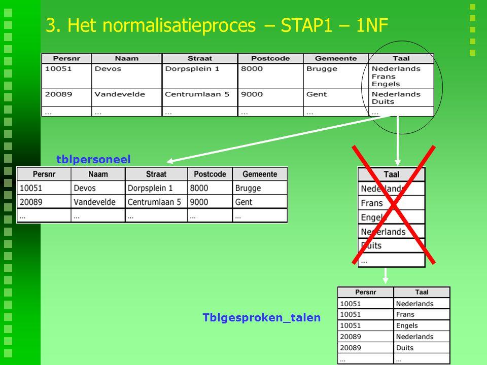 3. Het normalisatieproces – STAP1 – 1NF tblpersoneel Tblgesproken_talen