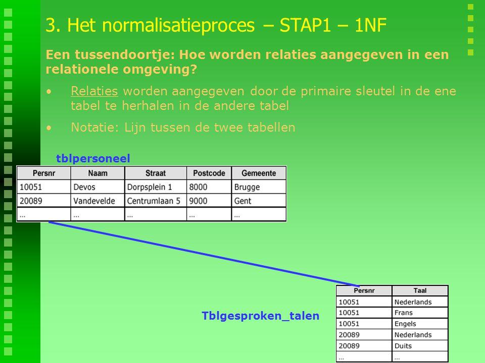 tblpersoneel Tblgesproken_talen 3. Het normalisatieproces – STAP1 – 1NF Relaties worden aangegeven door de primaire sleutel in de ene tabel te herhale