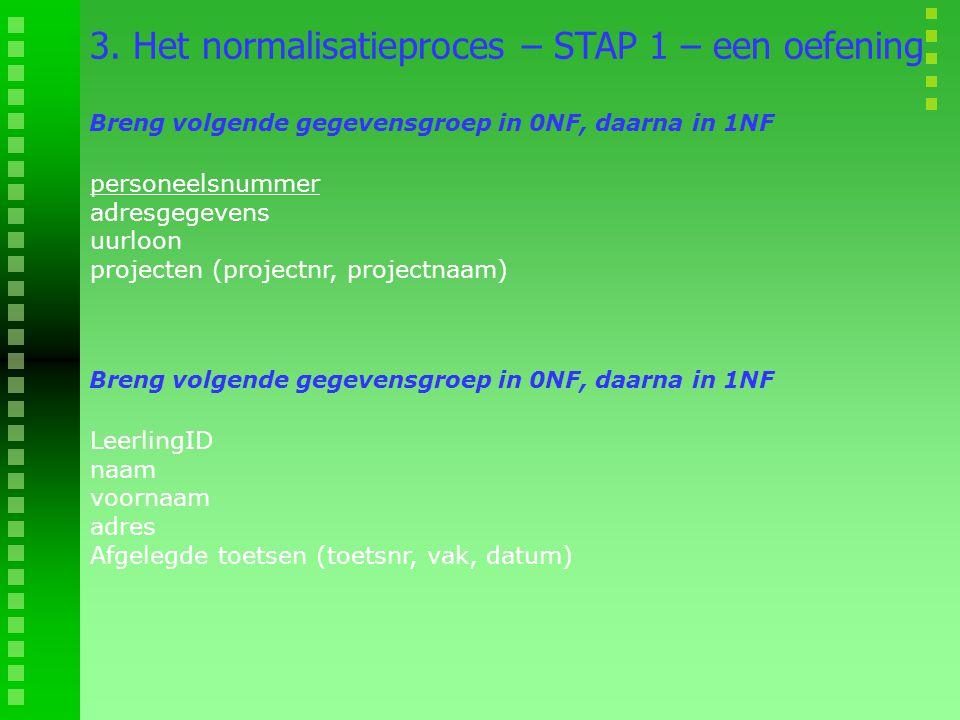 personeelsnummer adresgegevens uurloon projecten (projectnr, projectnaam) 3. Het normalisatieproces – STAP 1 – een oefening Breng volgende gegevensgro