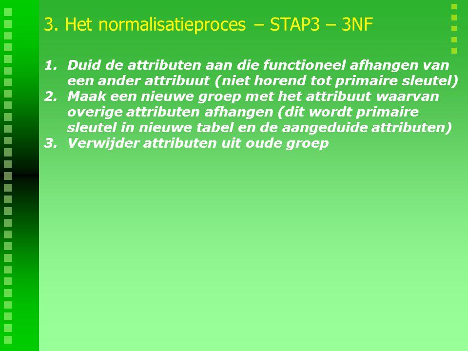 1.Duid de attributen aan die functioneel afhangen van een ander attribuut (niet horend tot primaire sleutel) 2.Maak een nieuwe groep met het attribuut