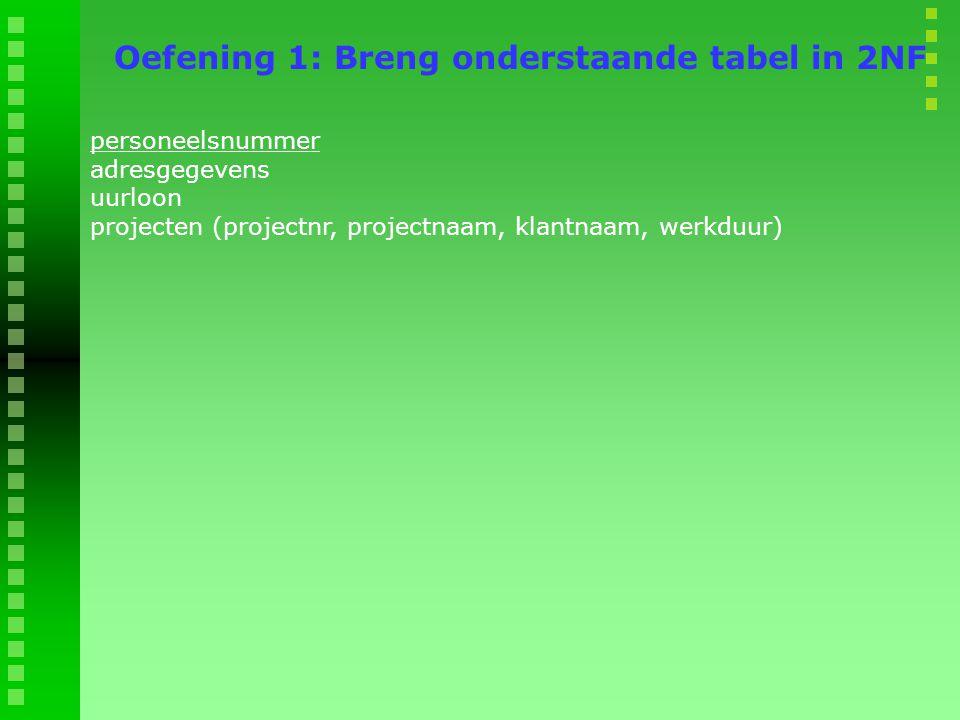 personeelsnummer adresgegevens uurloon projecten (projectnr, projectnaam, klantnaam, werkduur) Oefening 1: Breng onderstaande tabel in 2NF