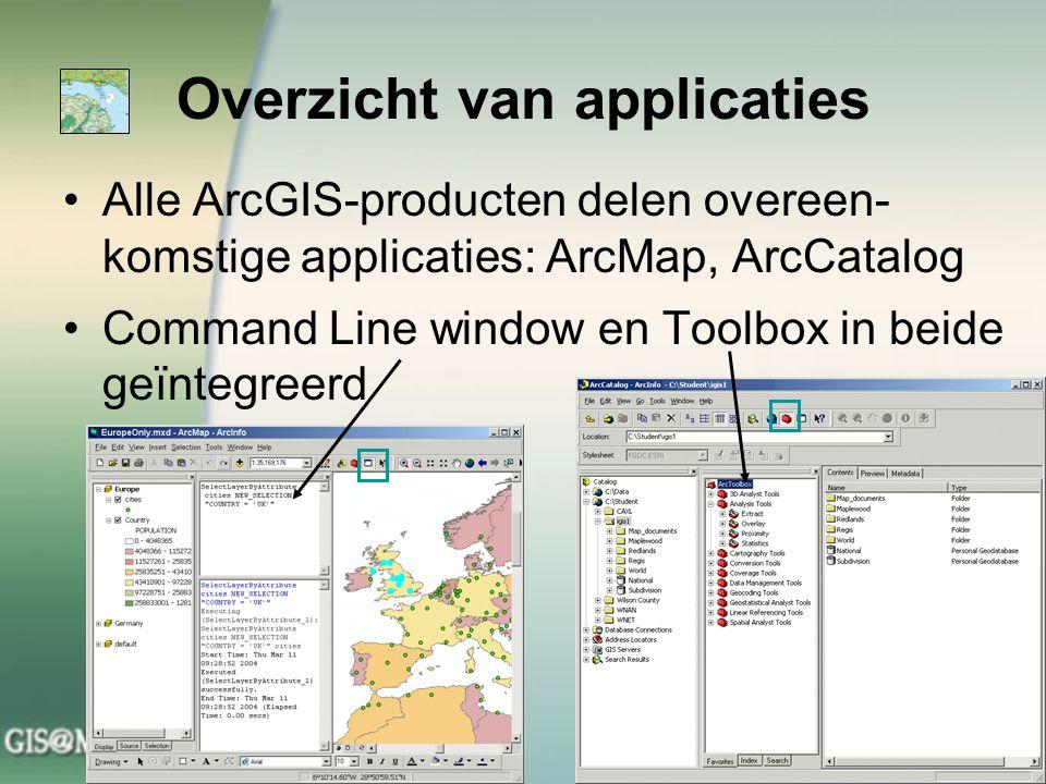 Overzicht van applicaties Alle ArcGIS-producten delen overeen- komstige applicaties: ArcMap, ArcCatalog Command Line window en Toolbox in beide geïnte