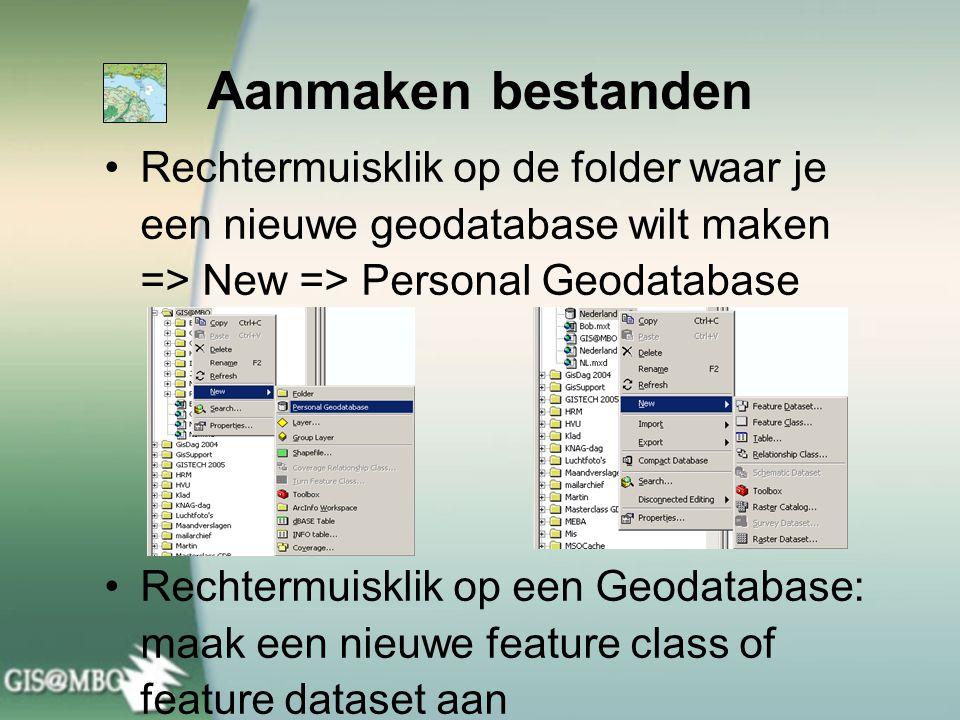 Rechtermuisklik op de folder waar je een nieuwe geodatabase wilt maken => New => Personal Geodatabase Rechtermuisklik op een Geodatabase: maak een nie