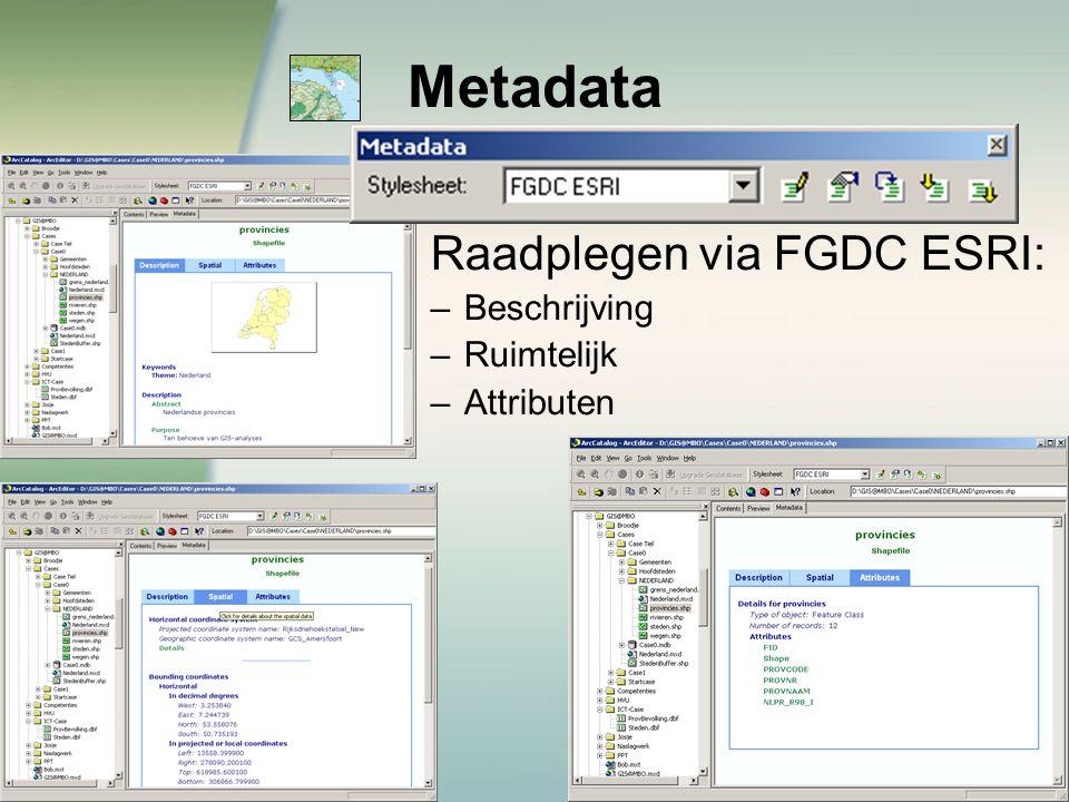 Metadata Raadplegen via FGDC ESRI: –Beschrijving –Ruimtelijk –Attributen