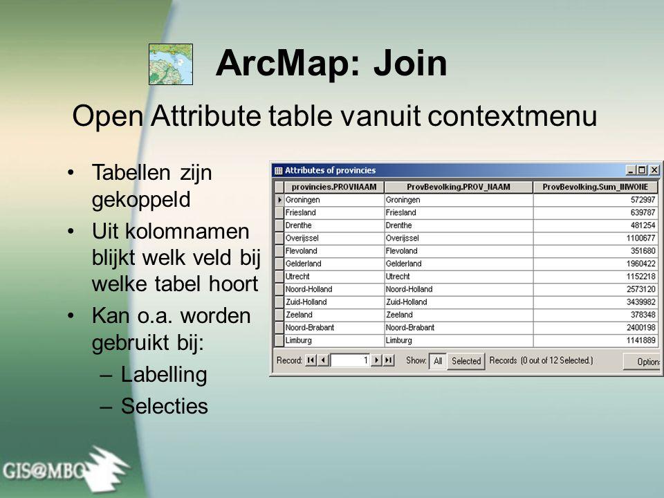 ArcMap: Join Open Attribute table vanuit contextmenu Tabellen zijn gekoppeld Uit kolomnamen blijkt welk veld bij welke tabel hoort Kan o.a. worden geb