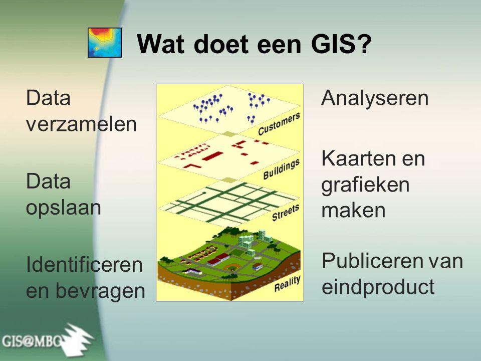 Wat doet een GIS? Data verzamelen Data opslaan Identificeren en bevragen Analyseren Publiceren van eindproduct Kaarten en grafieken maken