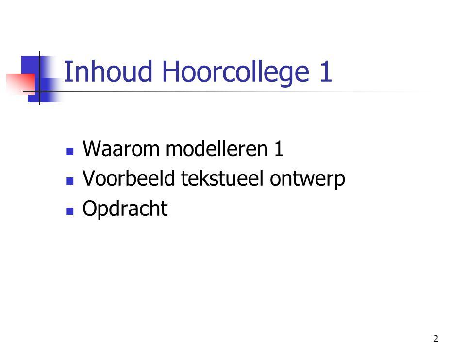 2 Inhoud Hoorcollege 1 Waarom modelleren 1 Voorbeeld tekstueel ontwerp Opdracht