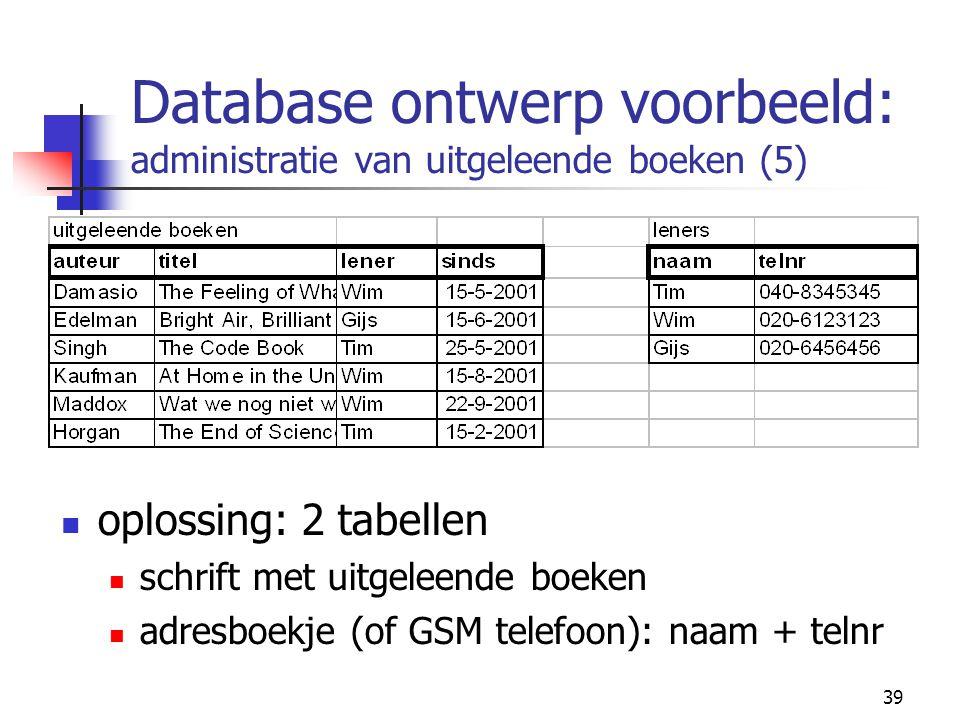 39 Database ontwerp voorbeeld: administratie van uitgeleende boeken (5) oplossing: 2 tabellen schrift met uitgeleende boeken adresboekje (of GSM telef