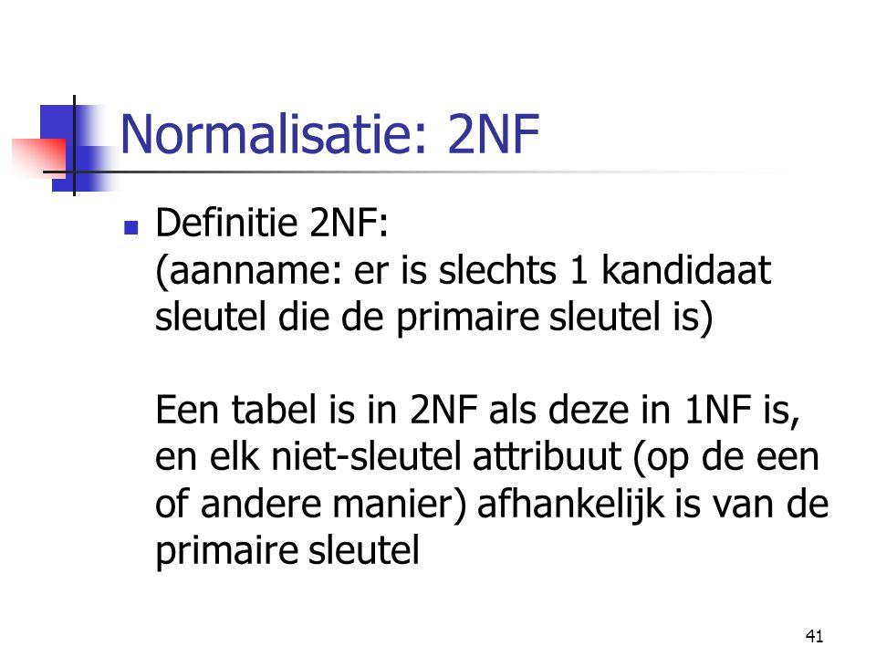 41 Normalisatie: 2NF Definitie 2NF: (aanname: er is slechts 1 kandidaat sleutel die de primaire sleutel is) Een tabel is in 2NF als deze in 1NF is, en