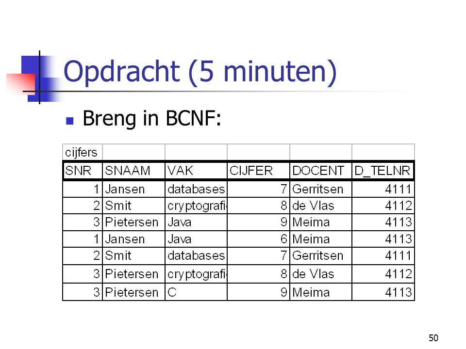 50 Opdracht (5 minuten) Breng in BCNF: