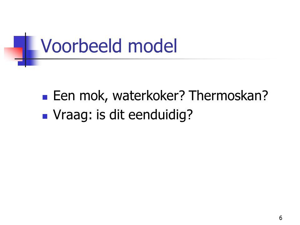 6 Voorbeeld model Een mok, waterkoker? Thermoskan? Vraag: is dit eenduidig?