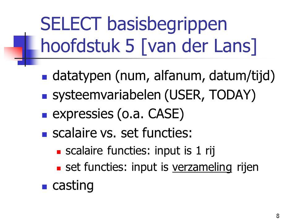 29 Referentiele Integriteit refererende acties default (SOLID): ON UPDATE RESTRICT ON DELETE RESTRICT (dwz wijzigen/verwijderen van een spelersnr in de SPELERS tabel wordt tegengehouden als spelersnr in TEAMS voorkomt)