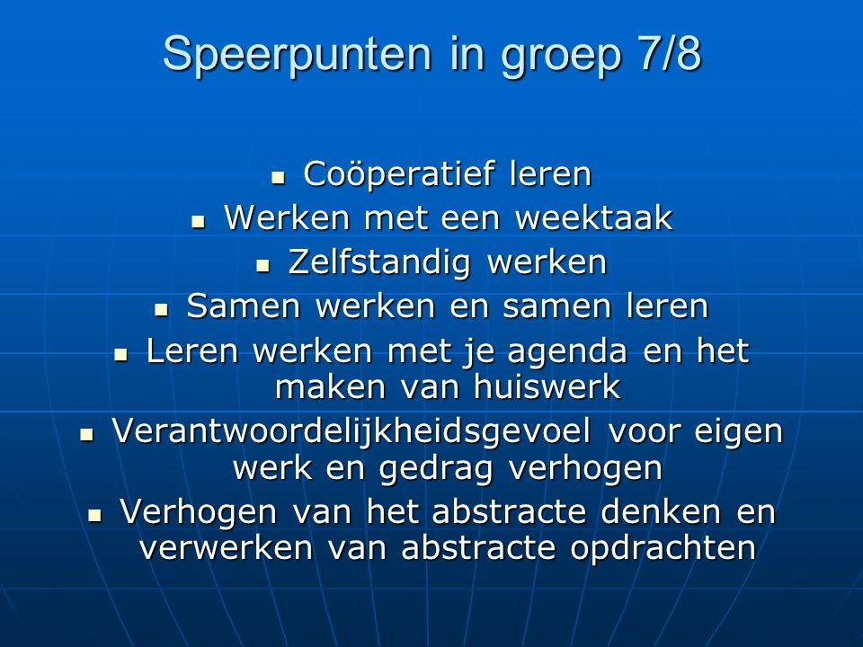 Speerpunten in groep 7/8 Coöperatief leren Coöperatief leren Werken met een weektaak Werken met een weektaak Zelfstandig werken Zelfstandig werken Sam