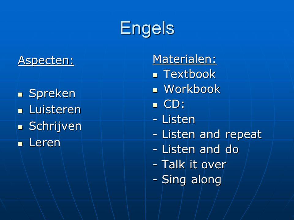 Engels Aspecten: Spreken Spreken Luisteren Luisteren Schrijven Schrijven Leren LerenMaterialen: Textbook Textbook Workbook Workbook CD: CD: - Listen -