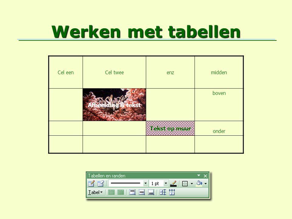 Werken met tabellen Cel eenCel tweeenzmidden Afbeelding & tekst boven Tekst op muur onder