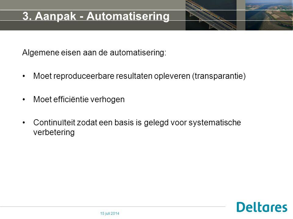 3. Aanpak - Automatisering Algemene eisen aan de automatisering: Moet reproduceerbare resultaten opleveren (transparantie) Moet efficiëntie verhogen C