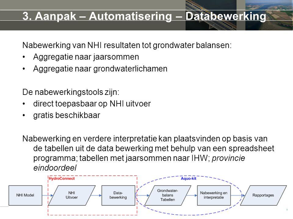 3. Aanpak – Automatisering – Databewerking Nabewerking van NHI resultaten tot grondwater balansen: Aggregatie naar jaarsommen Aggregatie naar grondwat