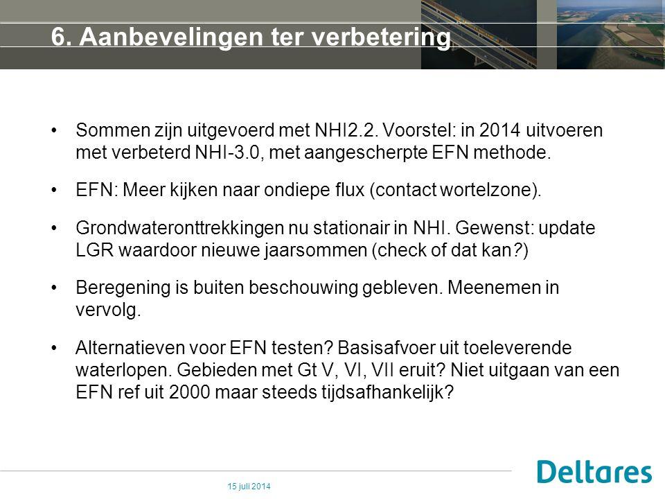 6. Aanbevelingen ter verbetering Sommen zijn uitgevoerd met NHI2.2. Voorstel: in 2014 uitvoeren met verbeterd NHI-3.0, met aangescherpte EFN methode.
