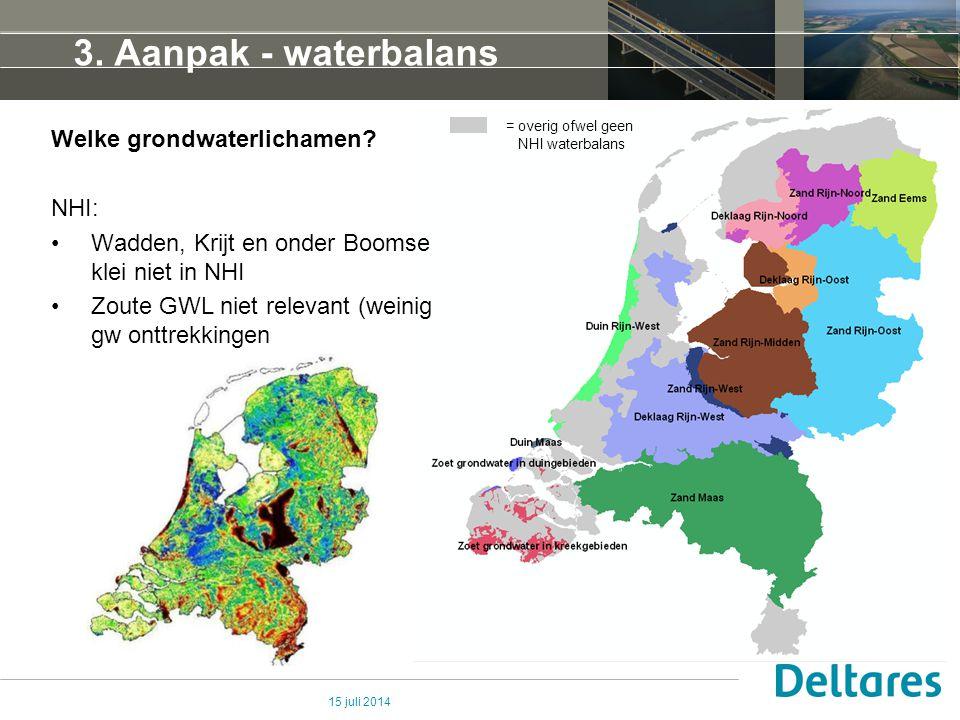 15 juli 2014 3. Aanpak - waterbalans updaten = overig ofwel geen NHI waterbalans Welke grondwaterlichamen? NHI: Wadden, Krijt en onder Boomse klei nie