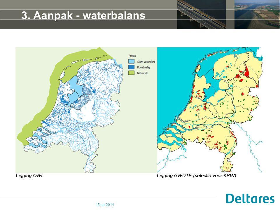 15 juli 2014 3. Aanpak - waterbalans