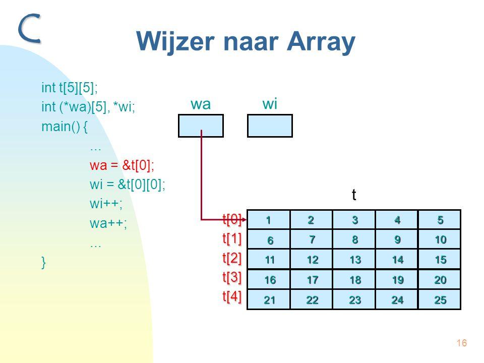 16 Wijzer naar Array int t[5][5]; int (*wa)[5], *wi; main() {... wa = &t[0]; wi = &t[0][0]; wi++; wa++;... } C wa t2 7 12 12 17 17 22 22 3 8 13 13 18