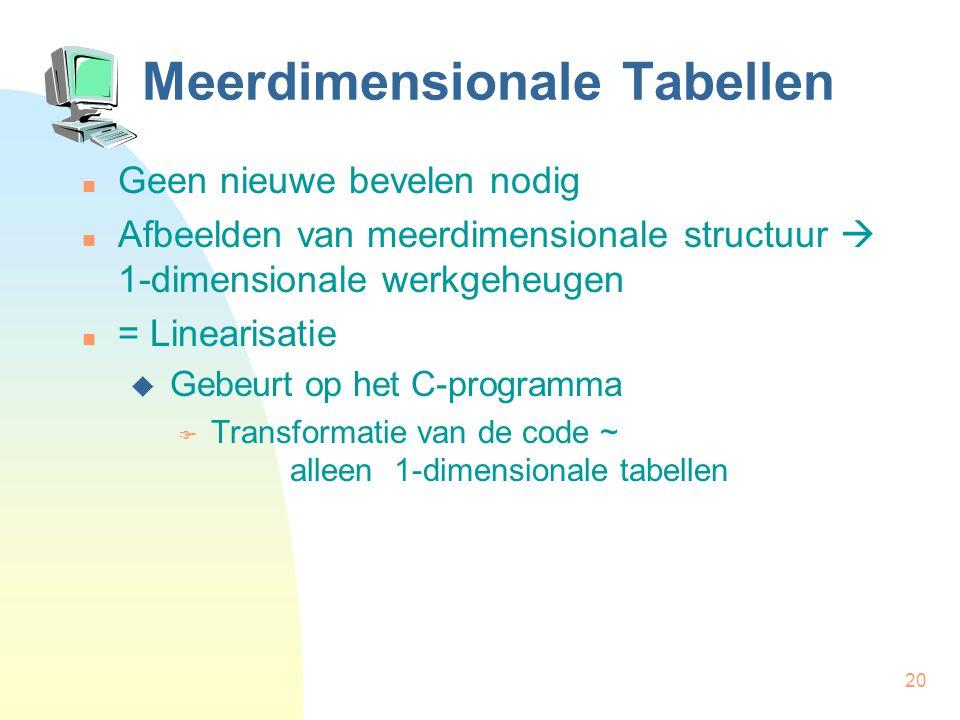 20 Meerdimensionale Tabellen Geen nieuwe bevelen nodig Afbeelden van meerdimensionale structuur  1-dimensionale werkgeheugen = Linearisatie  Gebeurt op het C-programma  Transformatie van de code ~ alleen 1-dimensionale tabellen