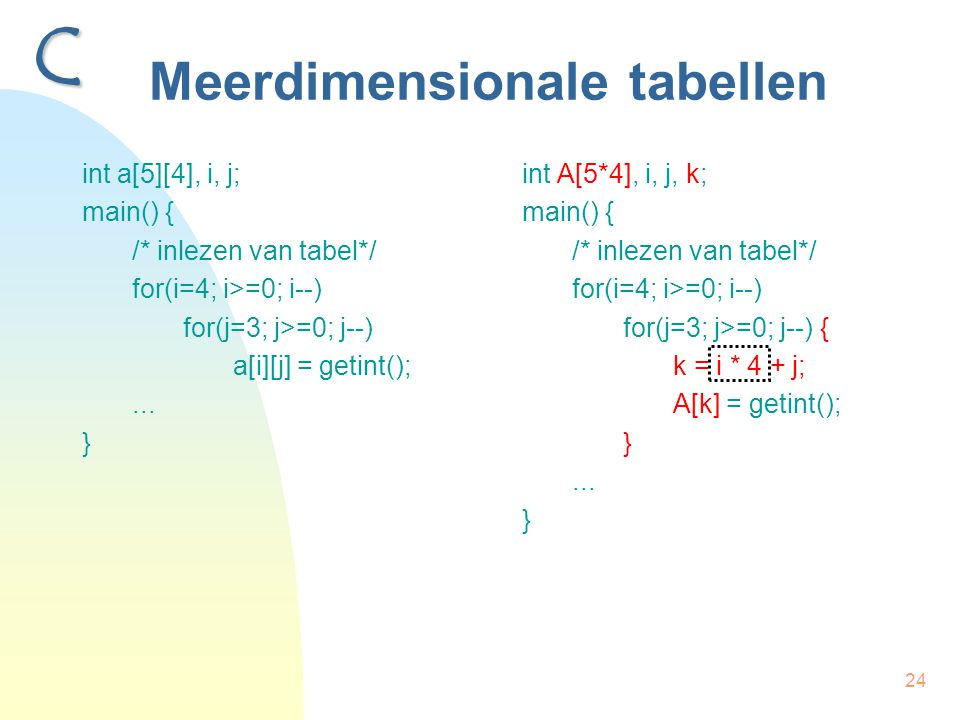 24 Meerdimensionale tabellen int a[5][4], i, j; main() { /* inlezen van tabel*/ for(i=4; i>=0; i--) for(j=3; j>=0; j--) a[i][j] = getint();... } int A