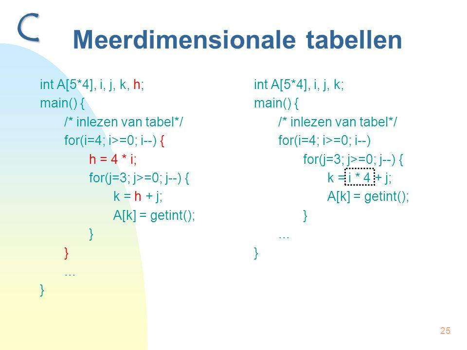25 Meerdimensionale tabellen int A[5*4], i, j, k, h; main() { /* inlezen van tabel*/ for(i=4; i>=0; i--) { h = 4 * i; for(j=3; j>=0; j--) { k = h + j; A[k] = getint(); } }...