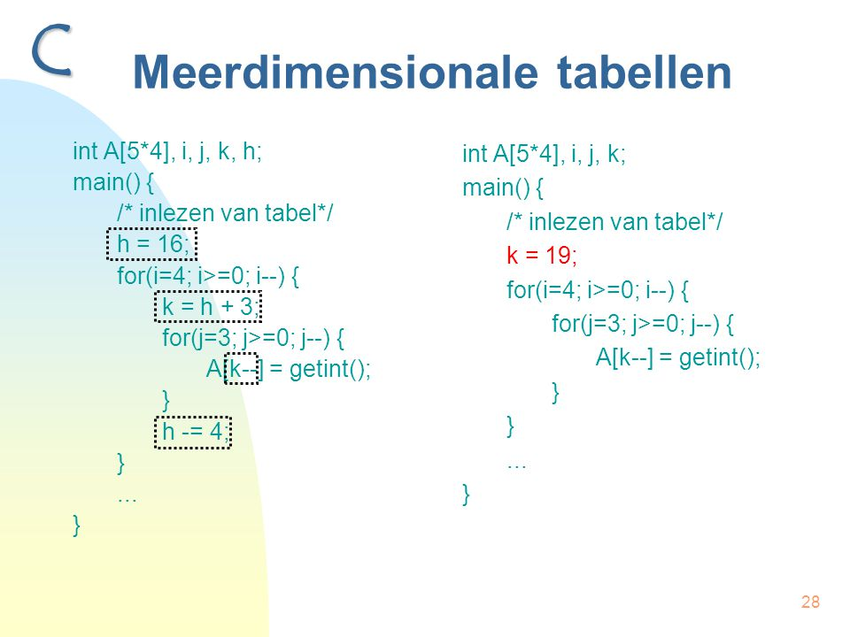 28 Meerdimensionale tabellen int A[5*4], i, j, k, h; main() { /* inlezen van tabel*/ h = 16; for(i=4; i>=0; i--) { k = h + 3; for(j=3; j>=0; j--) { A[k--] = getint(); } h -= 4; }...