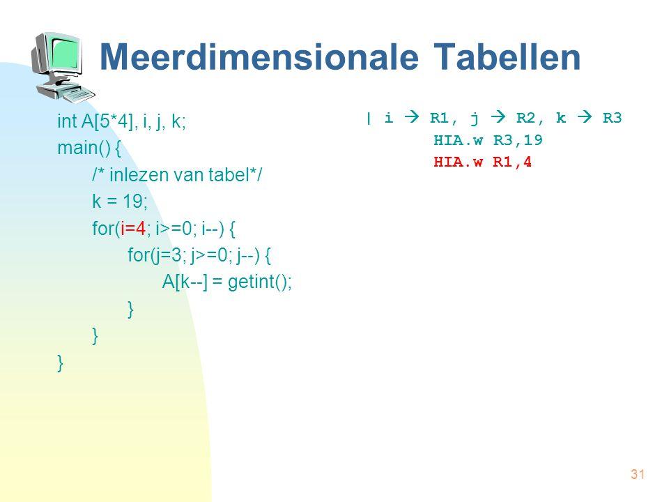 31 Meerdimensionale Tabellen int A[5*4], i, j, k; main() { /* inlezen van tabel*/ k = 19; for(i=4; i>=0; i--) { for(j=3; j>=0; j--) { A[k--] = getint(); } | i  R1, j  R2, k  R3 HIA.w R3,19 HIA.w R1,4