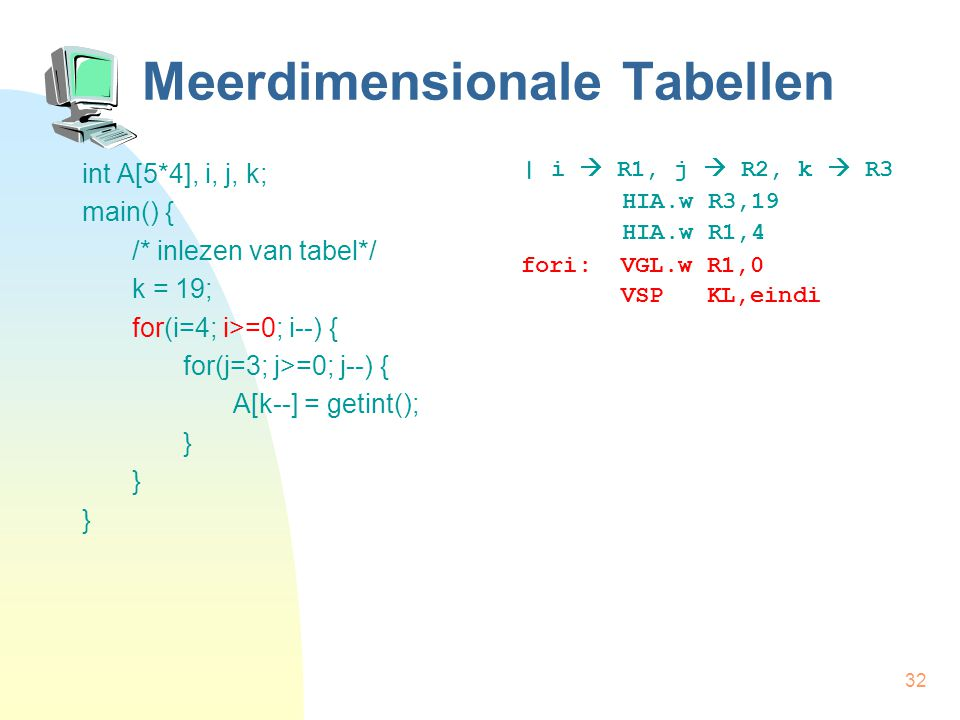 32 Meerdimensionale Tabellen int A[5*4], i, j, k; main() { /* inlezen van tabel*/ k = 19; for(i=4; i>=0; i--) { for(j=3; j>=0; j--) { A[k--] = getint(); } | i  R1, j  R2, k  R3 HIA.w R3,19 HIA.w R1,4 fori: VGL.w R1,0 VSP KL,eindi