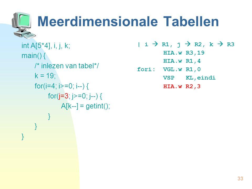 33 Meerdimensionale Tabellen int A[5*4], i, j, k; main() { /* inlezen van tabel*/ k = 19; for(i=4; i>=0; i--) { for(j=3; j>=0; j--) { A[k--] = getint(); } | i  R1, j  R2, k  R3 HIA.w R3,19 HIA.w R1,4 fori: VGL.w R1,0 VSP KL,eindi HIA.w R2,3