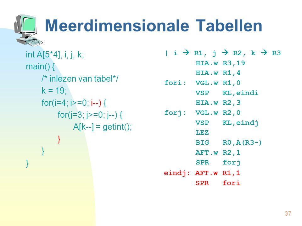 37 Meerdimensionale Tabellen int A[5*4], i, j, k; main() { /* inlezen van tabel*/ k = 19; for(i=4; i>=0; i--) { for(j=3; j>=0; j--) { A[k--] = getint(); } | i  R1, j  R2, k  R3 HIA.w R3,19 HIA.w R1,4 fori: VGL.w R1,0 VSP KL,eindi HIA.w R2,3 forj: VGL.w R2,0 VSP KL,eindj LEZ BIG R0,A(R3-) AFT.w R2,1 SPR forj eindj: AFT.w R1,1 SPR fori
