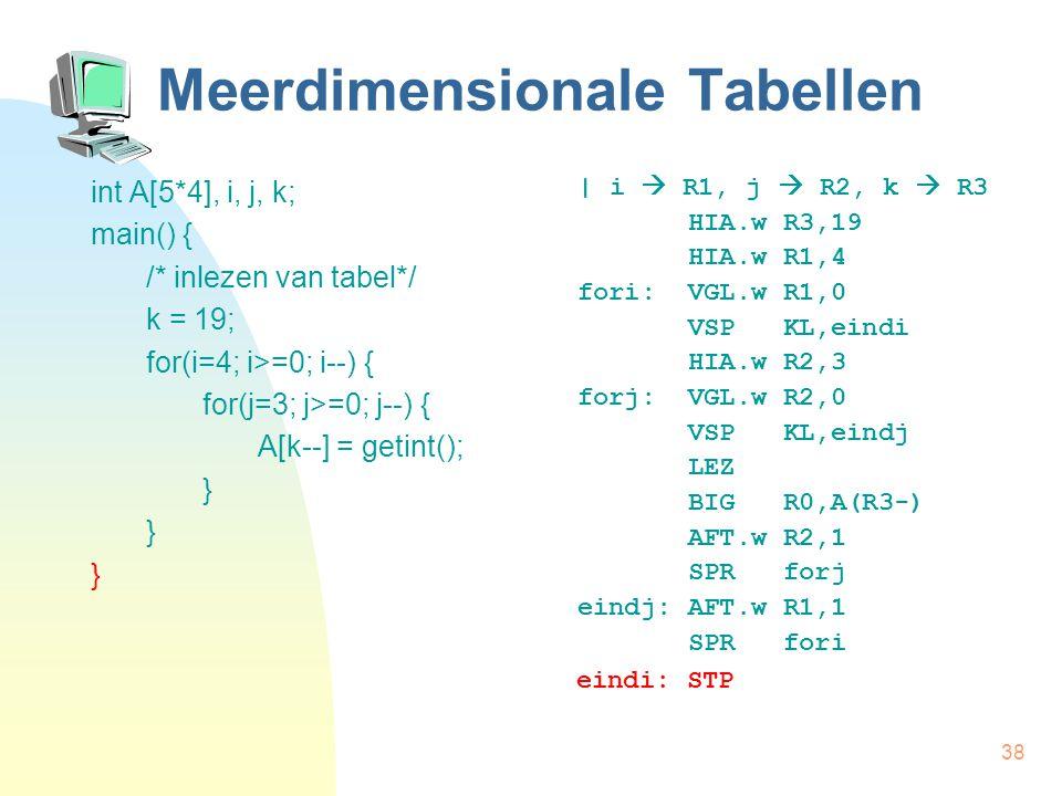 38 Meerdimensionale Tabellen int A[5*4], i, j, k; main() { /* inlezen van tabel*/ k = 19; for(i=4; i>=0; i--) { for(j=3; j>=0; j--) { A[k--] = getint(); } | i  R1, j  R2, k  R3 HIA.w R3,19 HIA.w R1,4 fori: VGL.w R1,0 VSP KL,eindi HIA.w R2,3 forj: VGL.w R2,0 VSP KL,eindj LEZ BIG R0,A(R3-) AFT.w R2,1 SPR forj eindj: AFT.w R1,1 SPR fori eindi: STP