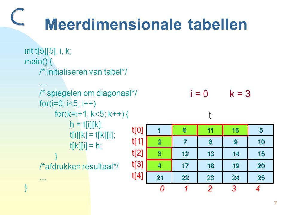 7 Meerdimensionale tabellen int t[5][5], i, k; main() { /* initialiseren van tabel*/... /* spiegelen om diagonaal*/ for(i=0; i<5; i++) for(k=i+1; k<5;