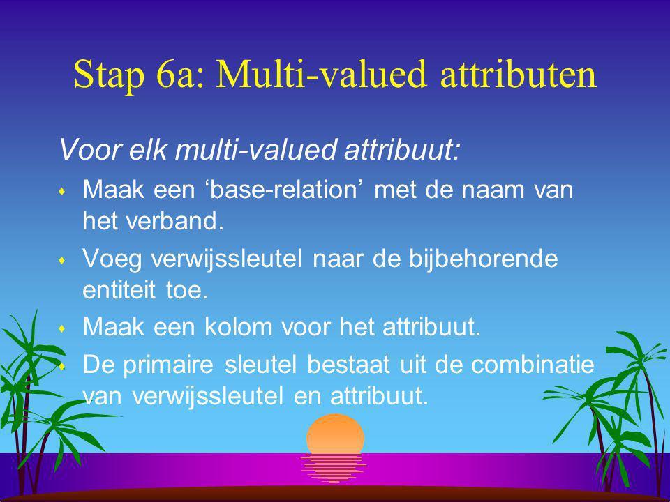 Stap 6b: Samengestelde attributen Voor elk samengesteld attribuut: s Maak, in plaats van een kolom met de naam van het samengestelde attribuut, een stel kolommen met namen van de samenstellende attribuut-delen.