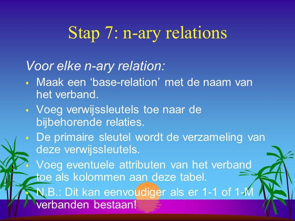 Stap 7: n-ary relations Voor elke n-ary relation: s Maak een 'base-relation' met de naam van het verband. s Voeg verwijssleutels toe naar de bijbehore