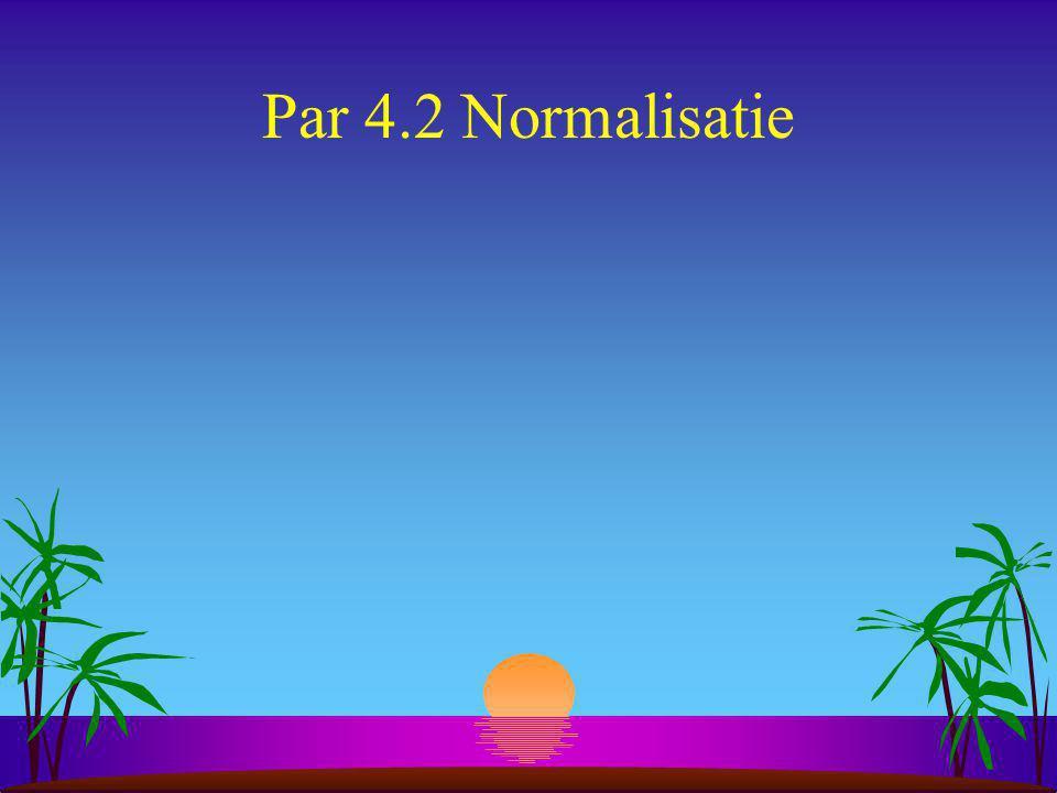 Doel normalisatie s Ontwikkelen van een verzameling van relationele tabellen met wenselijke eigenschappen gegeven de betekenis van de gegevens in de organisatie.
