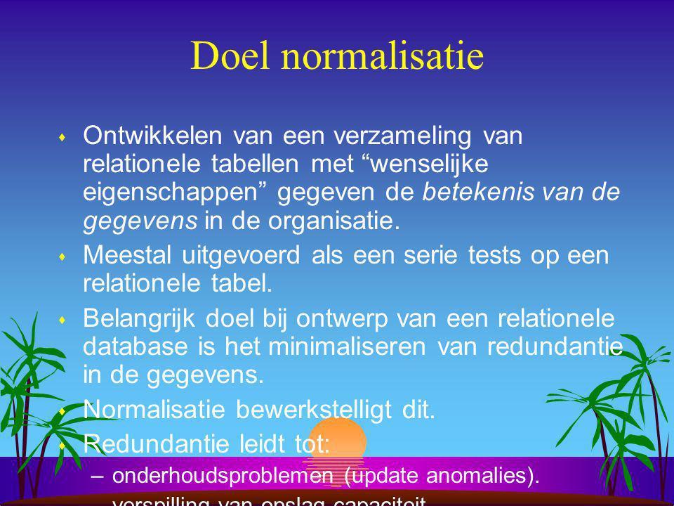 Normalisatie onderwerpen s Doel van normaliseren.–problemen bij tabellen in niet-normaalvorm.